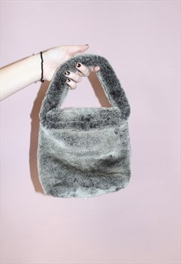 Vintage Faux Fur Mini Clutch Bag - 1990's Style Super Soft