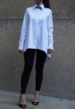 Oversized White Shirt Casual Top Hidden Button Shirt F1496