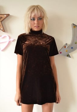 Vintage 90's Brown Velvet Polo Neck Mini Dress