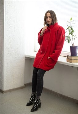Vintage 80's Red High Collar Puff Sleeved Wool Coat