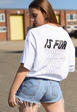 Oversized t-shirt in white with print.