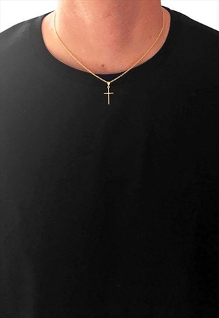 "54 FLORAL 18"" CROSS PENDANT NECKLACE CHAIN - GOLD"