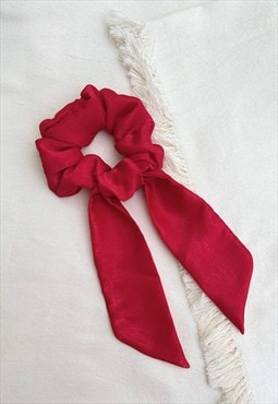 Scarf Scrunchie - Red Satin