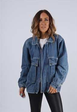 Vintage Denim Bomber Jacket Oversized Fitted UK L 14 (J2I)