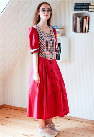 CHERRY RED CHECKED BELTED MIDI DRESS