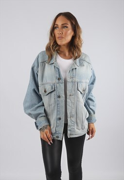 Vintage Denim Jacket Oversized Fitted UK 16 XL (9AS)