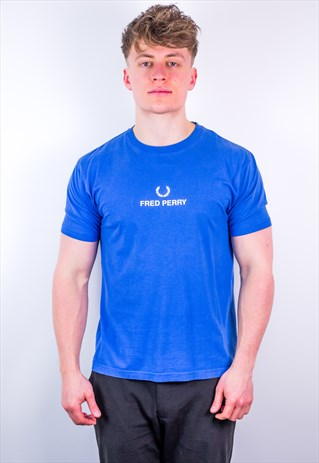 Vintage Fred Perry Spell Out T-Shirt in Blue