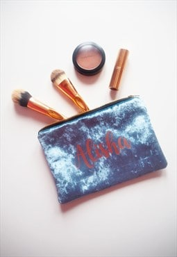 Personalised Makeup Bag in Blue Velvet