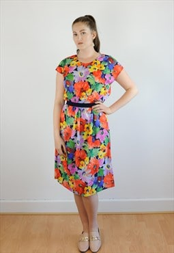 Womens Vintage 80s dress multicoloured floral abstract