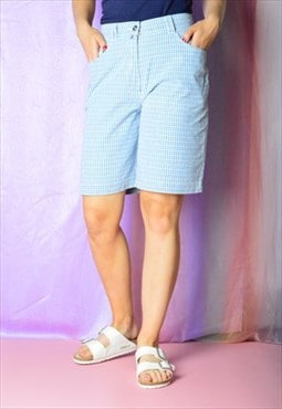 Vintage 90s Blue White Checked Shorts