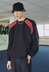 FMC Y2K Oversized Piped Sweatshirt Black & Red