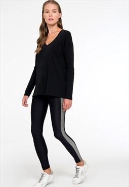 Shinny leggings with stripes in black