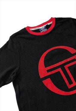 Black X Red Sergio Tacchini Spell Out T Shirt Dress