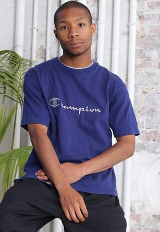 VINTAGE CHAMPION CHEST LOGO T-SHIRT NAVY BLUE