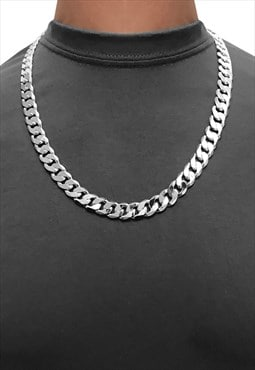 "12mm 22"" 925 Sterling Silver Wide Chunky Curb Necklace Chain"