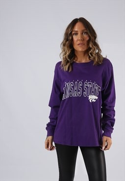 Long Sleeved Top Sweatshirt Oversized PRINT LOGO UK 14 (AI5G