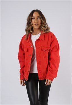 Vintage Denim Jacket Red Oversized Fitted UK 16 XL (AEI)