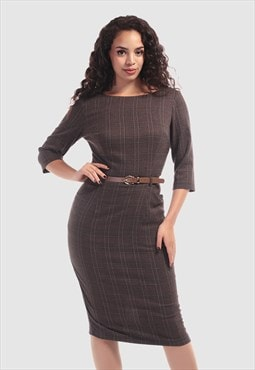 Adeline Vintage Librarian Check Pencil Dress