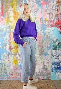 Cord Trousers & Purple Crop Sweat Co-ordinates