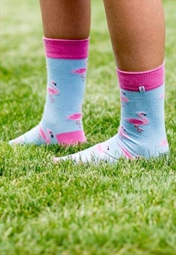 Light blue funny socks with Pink Flamingo, gift for girl