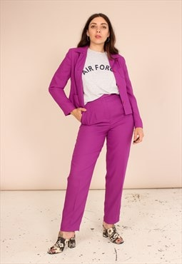 Vintage 80s Trouser Suit in Purple