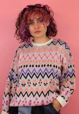 Vintage Cosy Knitted Jumper In White and Pink