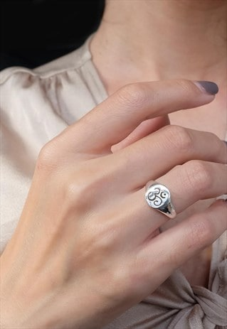 OM SIGNET RING WOMEN STERLING SILVER RING