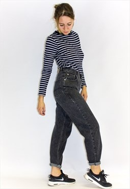 Vintage 90's High Rise Black Washed Mom Jeans