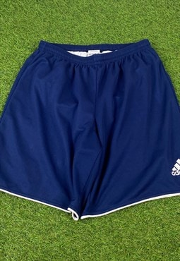 Vintage Adidas Shorts in Blue with Logo, Drawstring,