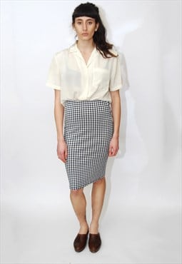 Houndstooth Print Skirt (XS/S) vintage 90s black white mini
