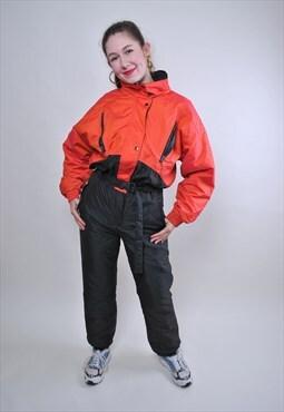 Vintage one piece black ski suit, bright orange snow suit