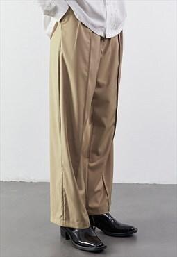 Khaki Wide Leg Pants Cotton Tailored Trousers Y2k