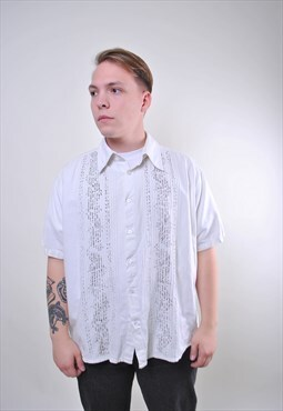 80s white striped man vintage shirt with print