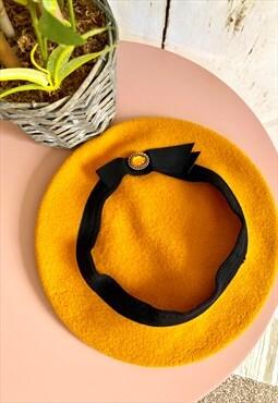 Vintage Mustard Selenite Stone Wool 60's Beret Hat