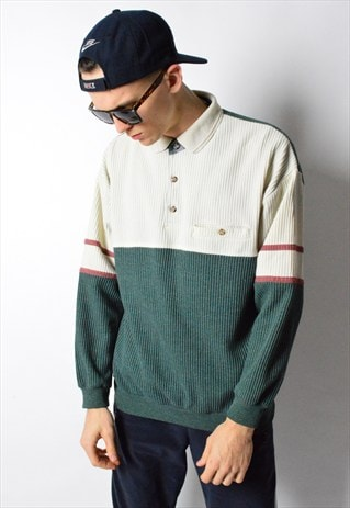 VINTAGE 90S COLOUR BLOCK 1/4 BUTTON JUMPER