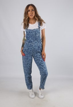 Vintage Floral Denim Dungarees Tapered Leg UK 6 XXS (H2F)