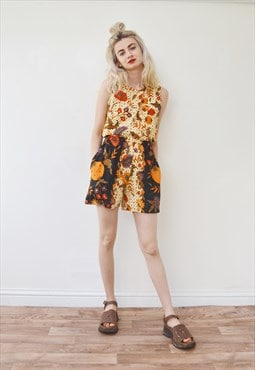 Vintage co ord two piece top shorts floral festival