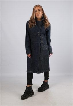 Vintage Long Denim Jacket Fitted UK 12 M (GBFO)