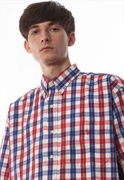 Vintage POLO RALPH LAUREN Short Sleeve 90s Red Blue Checked