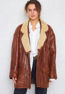 Vintage Brown Shearling Sherpa Leather Coat