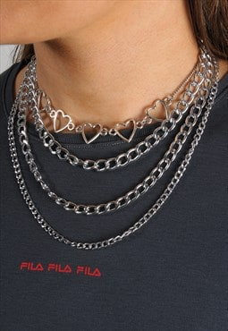 Silver Heart Choker Necklace Chain Set of 4