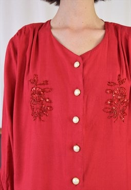 80s red sequined blouse, made of rayon