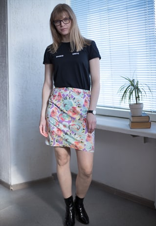 VINTAGE 80'S MULTICOLOUR FLOWER PRINT SKIRT