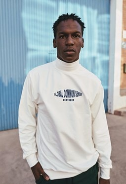 Handmade Sweatshirt in Off White With Mockneck