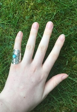 Womens Boho turquoise silver colour chunky tribal aztec ring
