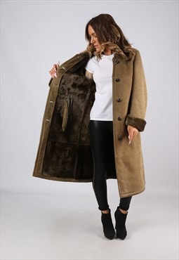 Sheepskin Suede Leather Shearling Long Coat UK 10 (9DQ)