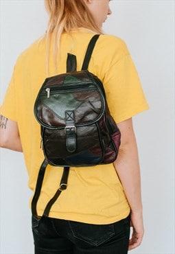 Vintage 90s grunge patchwork rucksack