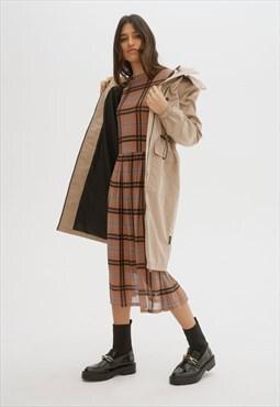Adelina Beige Mid-Length Raincoat