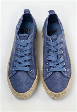 Espadrille Trainers in Classic Dusty Blue