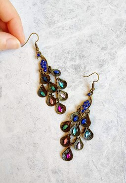 Vintage-style Peacock Earrings